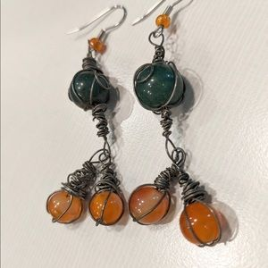 HANDCRAFTED Earring Boho Pewter Wirewrapped Glass